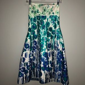 NWT Calvin Klein Multi Colored Strapless Dress